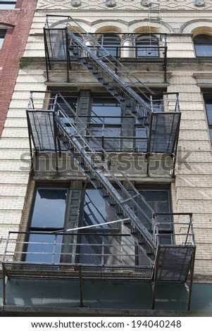 Exterior fire escape of a building, Seattle, Washington State, USA