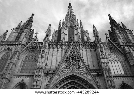 Exterior fragment facade of majestic gothic cathedral in Barcelona, Spain