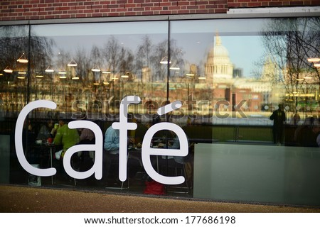 Exterior of a cafeteria in London - stock photo