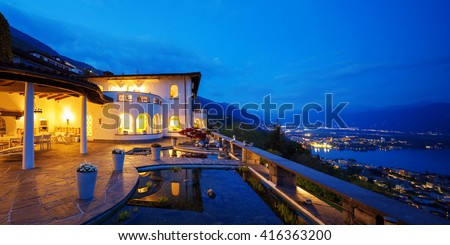 Exterior of a modern house, villa - stock photo