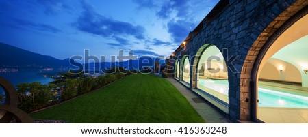 Exterior of a modern house, villa - stock photo