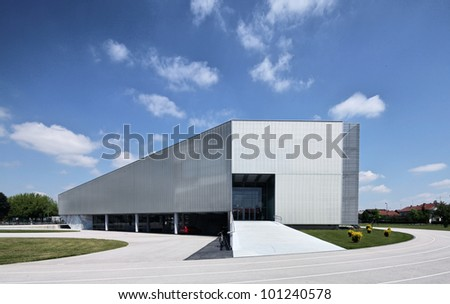 exterior of a modern school - stock photo