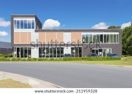 exterior of a modern small office building - stock photo
