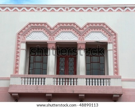 Exterior of a 1930's Art-Deco building in Napier, New Zealand.  Napier was destroyed by an earthquake in 1931 and re-built in the style of the time, which was Art Deco - stock photo