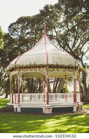 Exterior of a shelter at a park. - stock photo