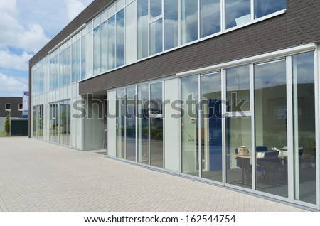 modern office exterior. exterior of a small modern office building g