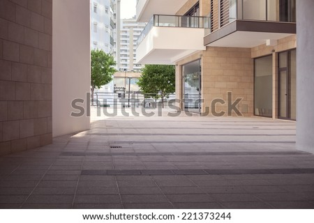 Exterior of a small modern office building - stock photo