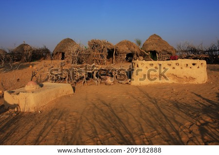 Exterior of a village hut in the Great Thar Desert,Pakistan - stock photo