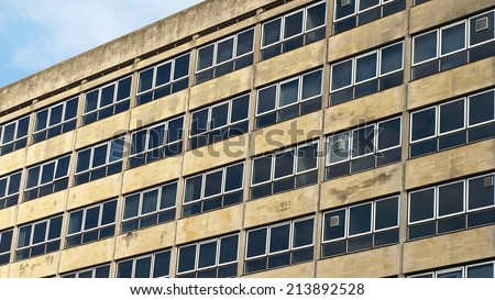 Exterior of an Abandoned 1960s Era Office Building - stock photo