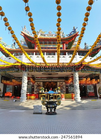 Exterior of an Old Chinese Temple - Namely Thean Hou Temple in Kuala Lumpur - stock photo