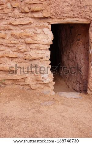 Exterior of Anasazi Pueblo,   circa1050 - 120 CE,  Anasazi State Park Museum,  , Boulder, Utah  - stock photo