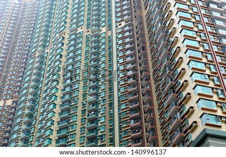 Exterior of apartment building in Hong Kong