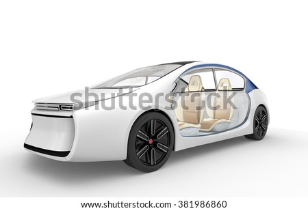 Exterior of autonomous electric car isolated on white background.  - stock photo