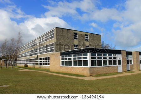 Exterior of English secondary school building, Scarborough. - stock photo
