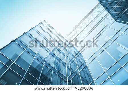 exterior of glass residential building - stock photo