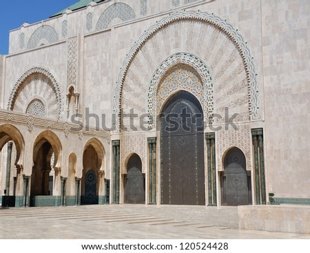 Exterior of Hassan II mosque with blue sky background, Casablanca, Morocco