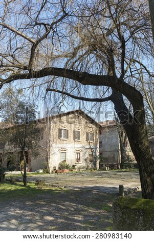 Exterior of historic house in Brianza (Monza, Milan, Lombardy, Italy) at winter in a sunny morning