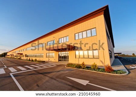 Exterior of industrial building on a sunny day