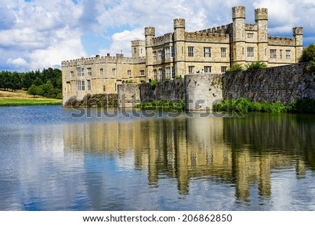 exterior of Leeds' castle (England) - stock photo