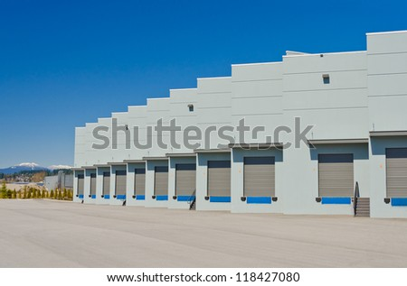 Exterior of loading docks, bay. - stock photo