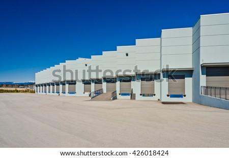 Exterior of loading docks, bay terminal. - stock photo