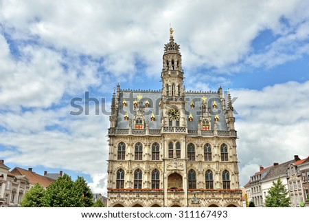 Exterior of medieval gothic city hall of Oudenaarde, Belgium