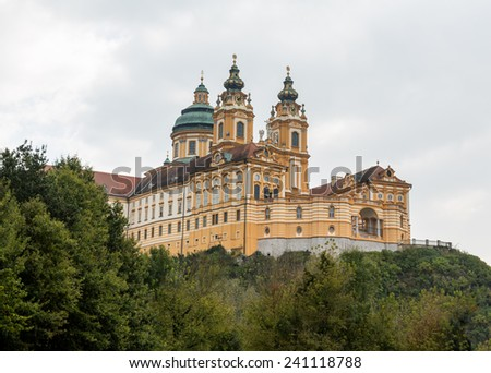 Exterior of Melk Abbey a Benedictine monastery overlooking river Danube in Melk, Austria