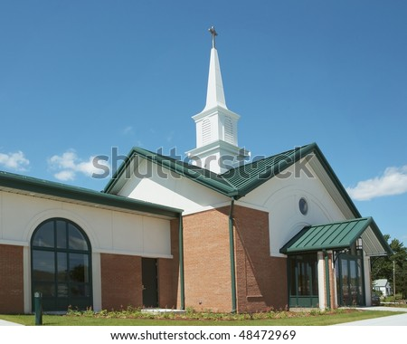 Exterior of modern American church with contemporary architecture - stock photo