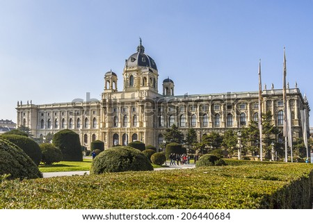 Exterior of museum of Natural History (Imperial Naturhistorisches Museum, 1872 -1889) and park on the Ring strasse in Vienna, Austria. - stock photo