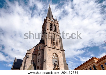 Exterior of old gothic christian church in Prague, Czech Republic in Europe - stock photo