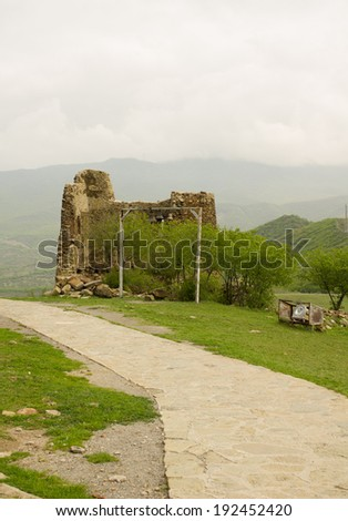 Exterior of ruins of Jvari, which is a Georgian Orthodox monastery of the 6th century near Mtskheta (World Heritage site) - the most famous symbol of georgiam christianity - stock photo
