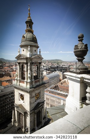 Exterior of St. Stephen's Basilica in Budapest Hungary. View of the city from a height.