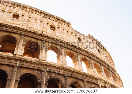 Exterior of the Colosseum or Coliseum, an elliptical amphitheatre in the centre of the city of Rome, Italy