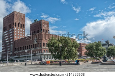 Exterior of the famous Oslo City Hall in Oslo, Norway - stock photo