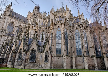 Exterior of the gothic medieval cathedral of Saint John, one of the top attractions of Den Bosch, 's-Hertogenbosch, Netherlands - stock photo