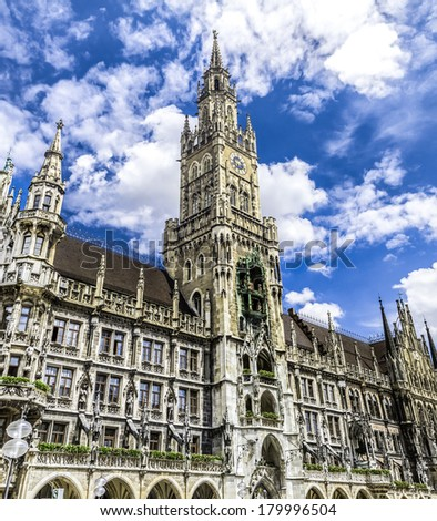 Exterior of the New Town Hall with blue sky and cloudscape background, Marienplatz, Munich, Bavaria, Germany.
