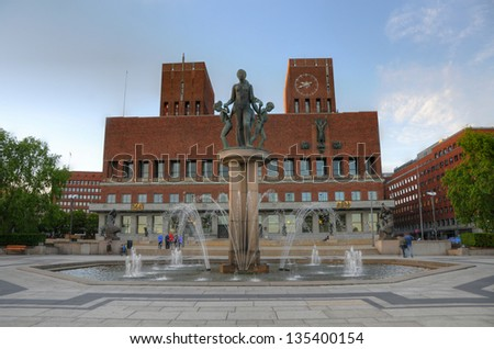Exterior of the Oslo City Hall in Oslo, Norway - stock photo