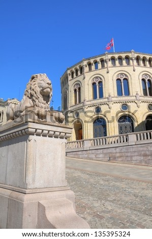 Exterior of the Parliament of Norway in Oslo, Norway - stock photo