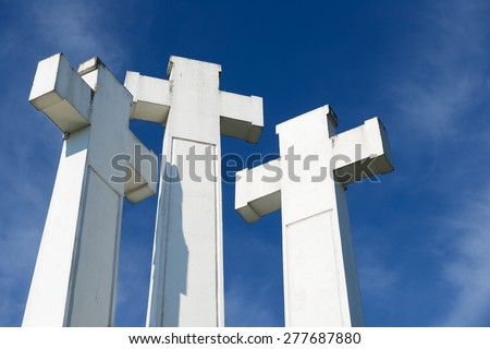 Exterior of the Three Crosses at the Three Crosses hill in Vilnius, Lithuania.