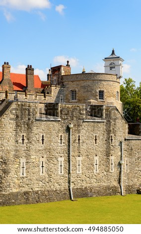 Exterior of the Tower of London (Her Majesty's Royal Palace and Fortress of the Tower of London), England. UNESCO World Heritage
