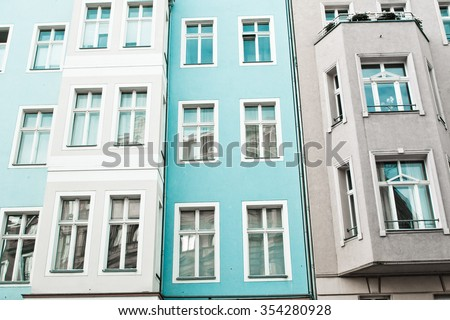 Exterior of urban apartment buildings in germany - stock photo