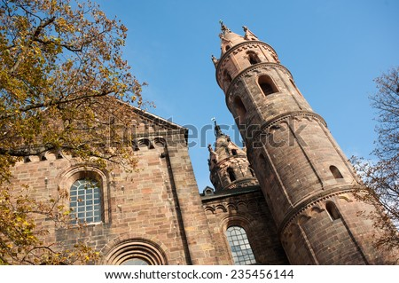Exterior of Worms Dom Cathedral in Worms, Germany. November 2011 - stock photo