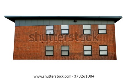 Exterior side view of a modern office building, white background. - stock photo