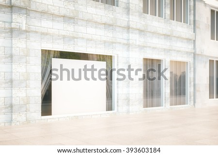 Exterior storefront with blank billboard, mock up, 3D Render - stock photo