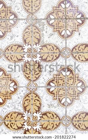 Exterior tiles in urban street of Lisbon, ceramics - stock photo