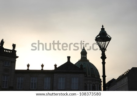 Exterior Top View of the Palace in Copenhagen - stock photo