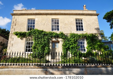 Exterior View of a Beautiful English Georgian Era House - stock photo