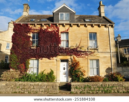 Exterior View of a Beautiful Old English House - stock photo