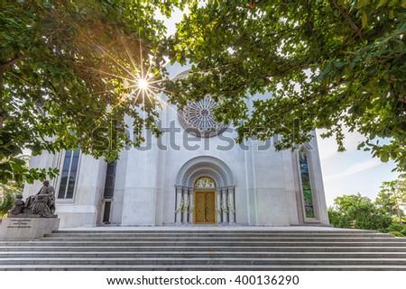 Exterior view of a Catholic Church, Assumption University, Thailand. - stock photo