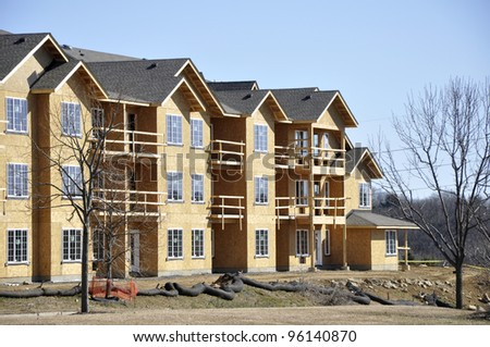 exterior view of a new apartment or condominium building construction